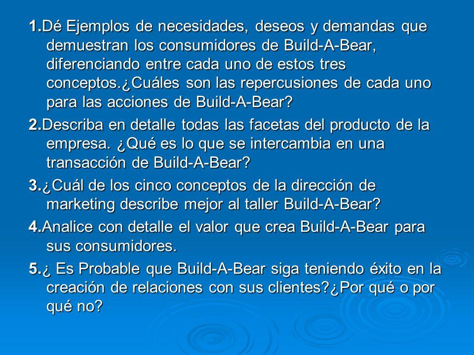 1.Dé Ejemplos de necesidades, deseos y demandas que demuestran los consumidores de Build-A-Bear, diferenciando entre cada uno de estos tres conceptos.¿Cuáles son las repercusiones de cada uno para las acciones de Build-A-Bear