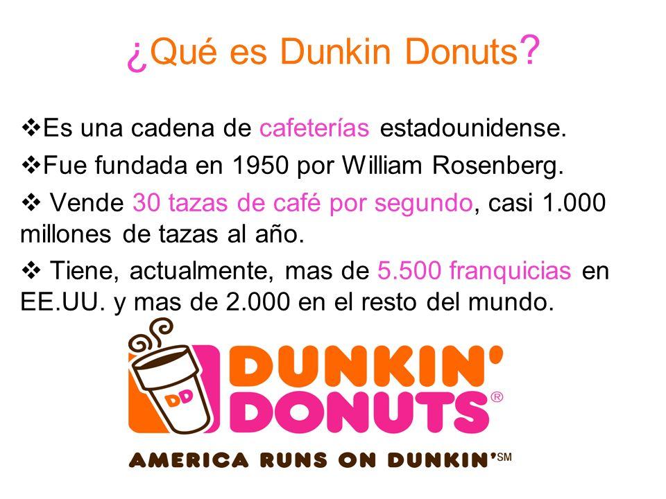 ¿Qué es Dunkin Donuts Es una cadena de cafeterías estadounidense.