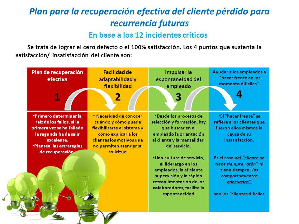 Plan para la recuperación efectiva del cliente pérdido para recurrencia futuras