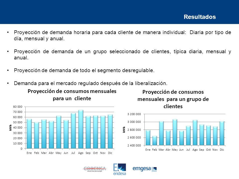 Resultados Proyección de demanda horaria para cada cliente de manera individual: Diaria por tipo de día, mensual y anual.