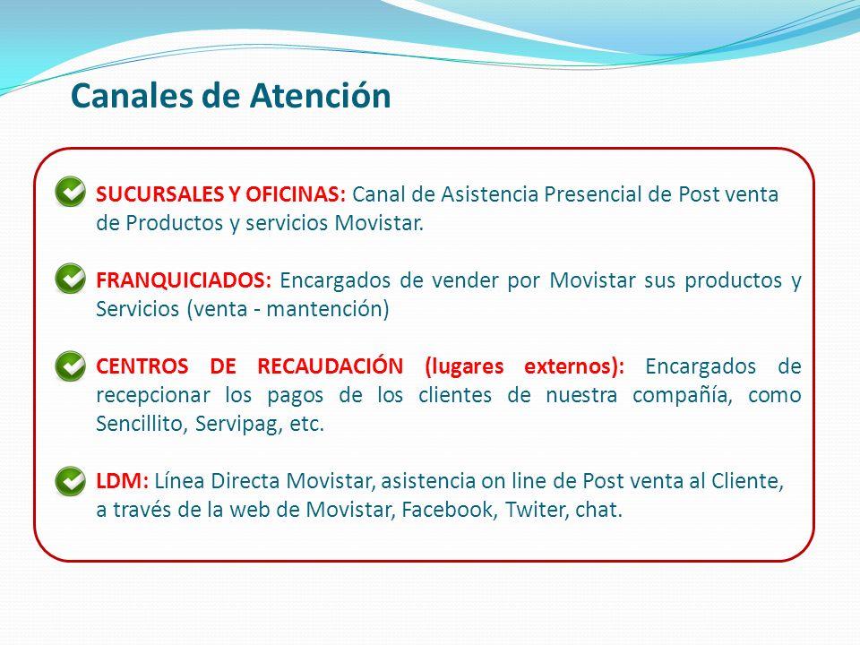 Canales de Atención SUCURSALES Y OFICINAS: Canal de Asistencia Presencial de Post venta de Productos y servicios Movistar.