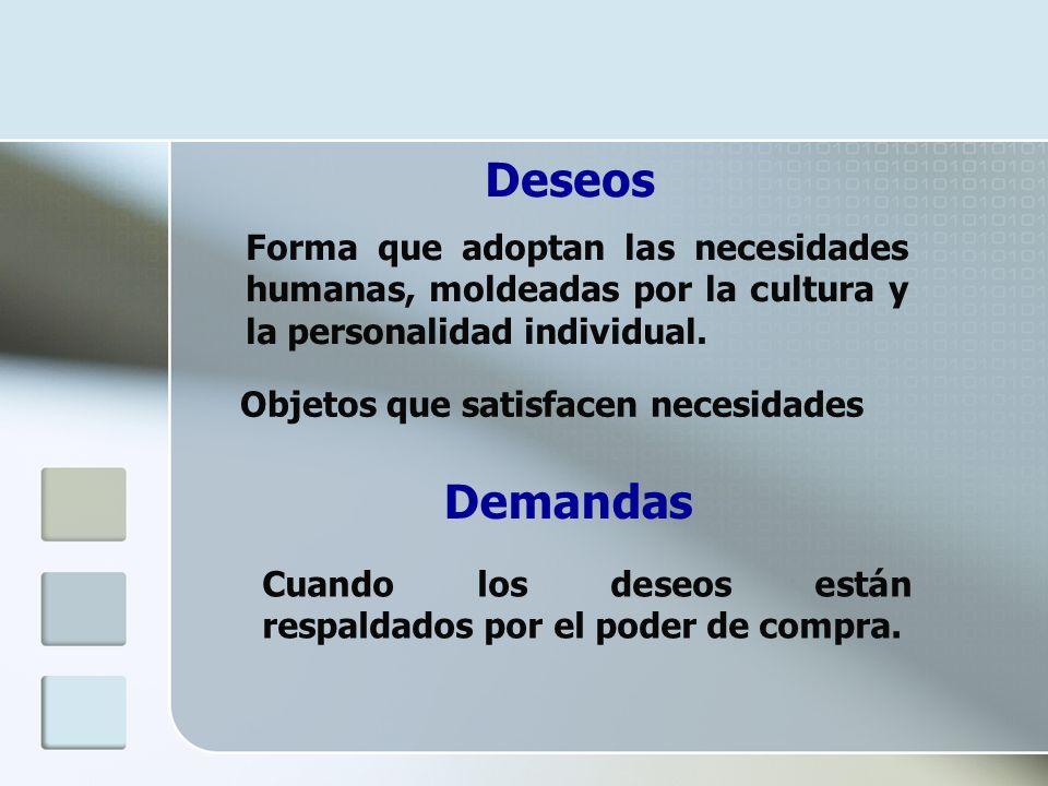 Deseos Forma que adoptan las necesidades humanas, moldeadas por la cultura y la personalidad individual.