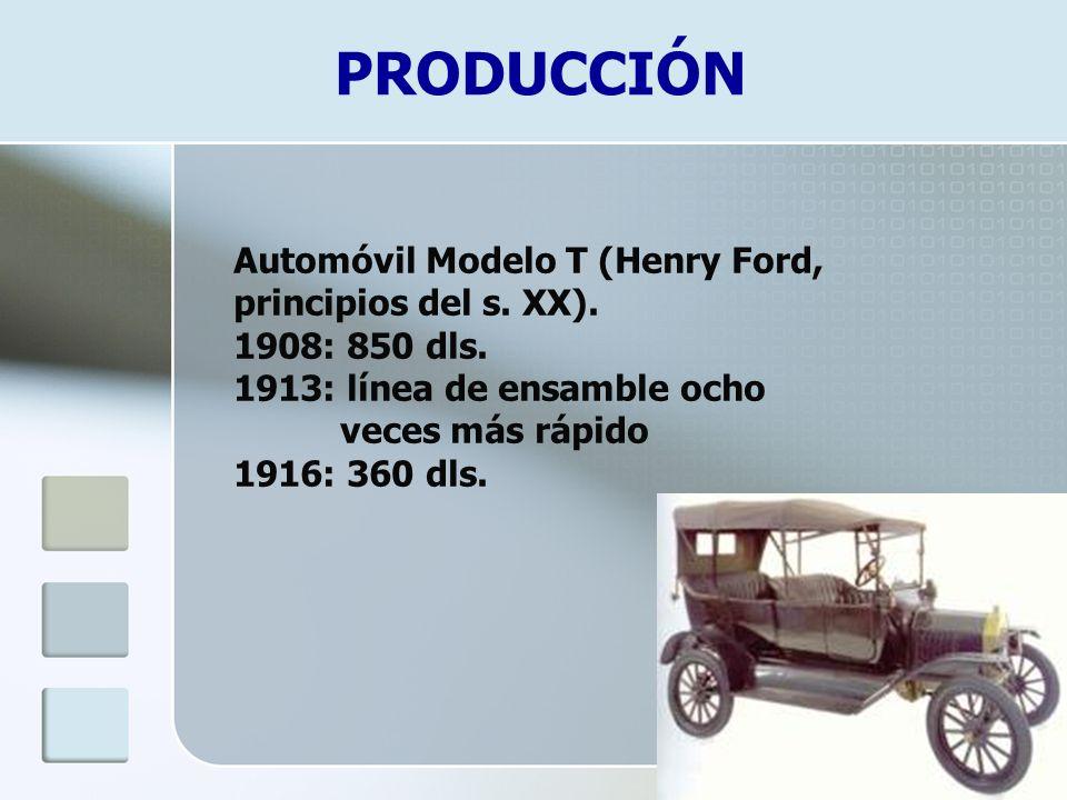 PRODUCCIÓN Automóvil Modelo T (Henry Ford, principios del s. XX).