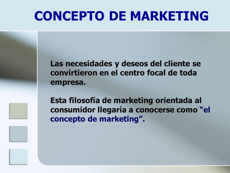 CONCEPTO DE MARKETING Las necesidades y deseos del cliente se convirtieron en el centro focal de toda empresa.