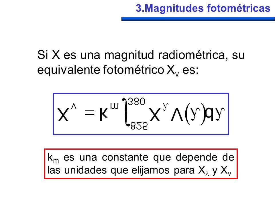 Si X es una magnitud radiométrica, su equivalente fotométrico Xv es:
