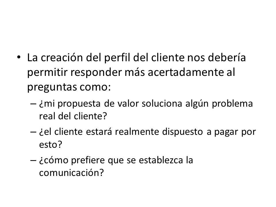 La creación del perfil del cliente nos debería permitir responder más acertadamente al preguntas como: