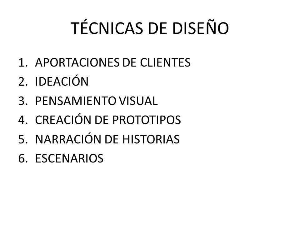 TÉCNICAS DE DISEÑO APORTACIONES DE CLIENTES IDEACIÓN