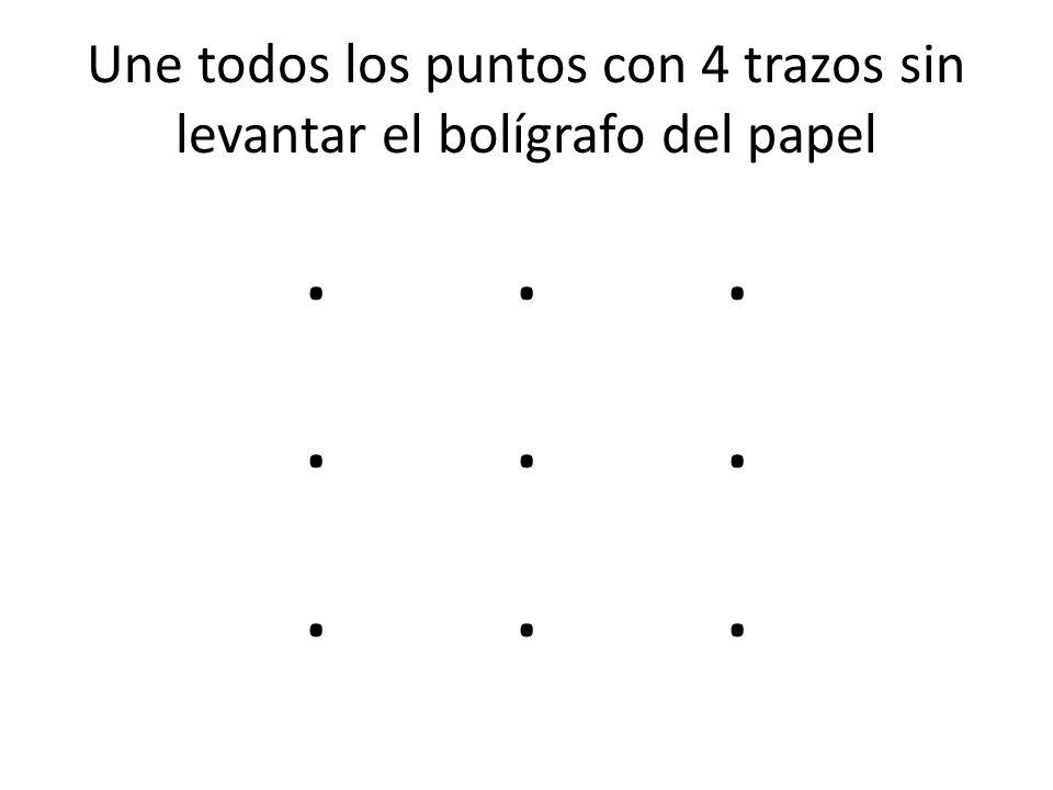 Une todos los puntos con 4 trazos sin levantar el bolígrafo del papel