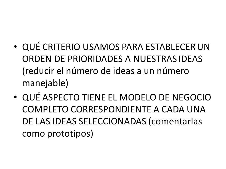 QUÉ CRITERIO USAMOS PARA ESTABLECER UN ORDEN DE PRIORIDADES A NUESTRAS IDEAS (reducir el número de ideas a un número manejable)