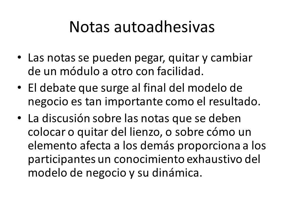 Notas autoadhesivas Las notas se pueden pegar, quitar y cambiar de un módulo a otro con facilidad.