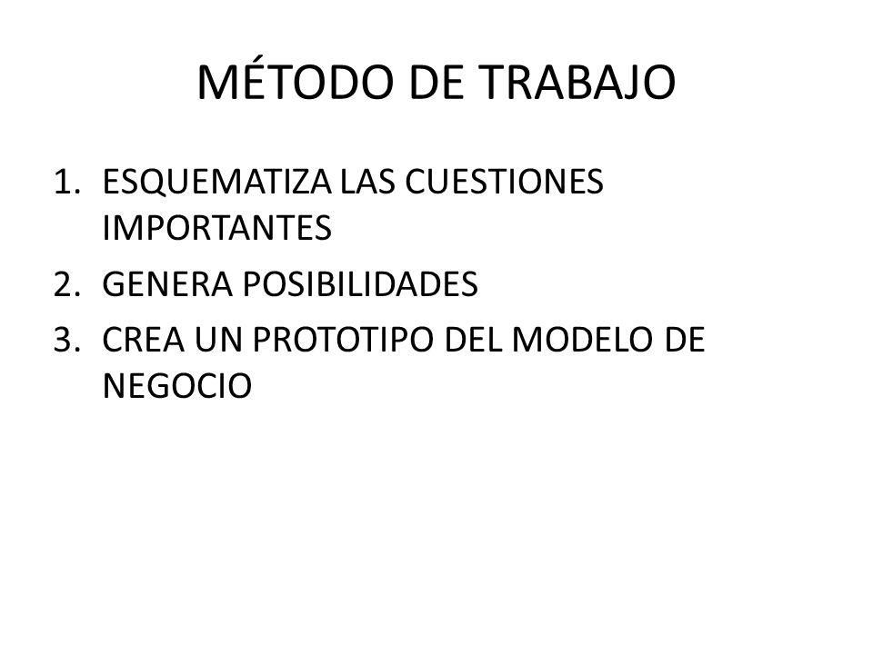 MÉTODO DE TRABAJO ESQUEMATIZA LAS CUESTIONES IMPORTANTES