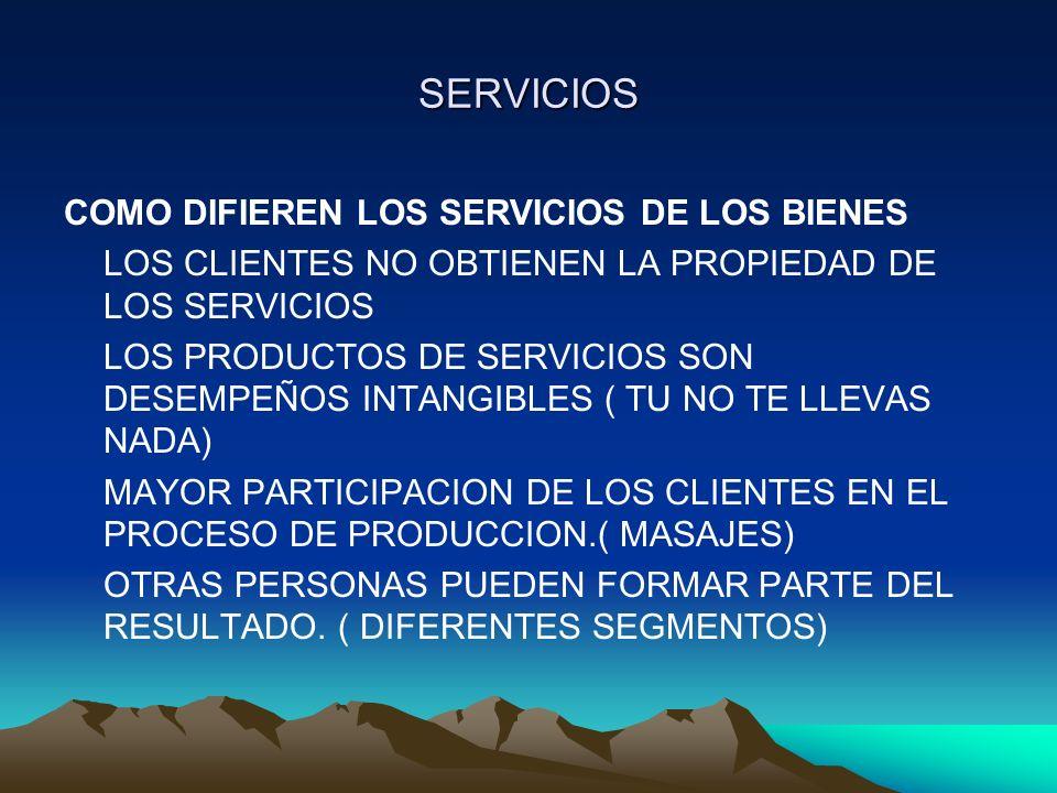 SERVICIOS COMO DIFIEREN LOS SERVICIOS DE LOS BIENES