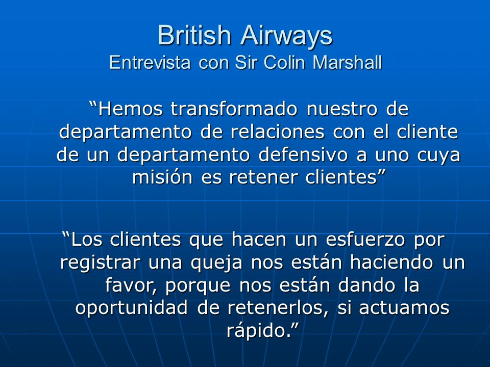 British Airways Entrevista con Sir Colin Marshall
