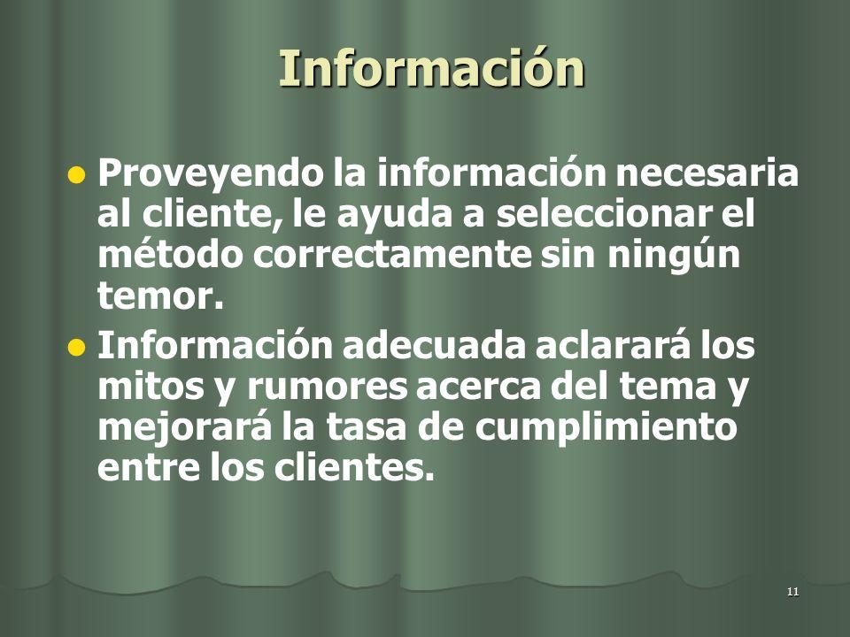 Información Proveyendo la información necesaria al cliente, le ayuda a seleccionar el método correctamente sin ningún temor.
