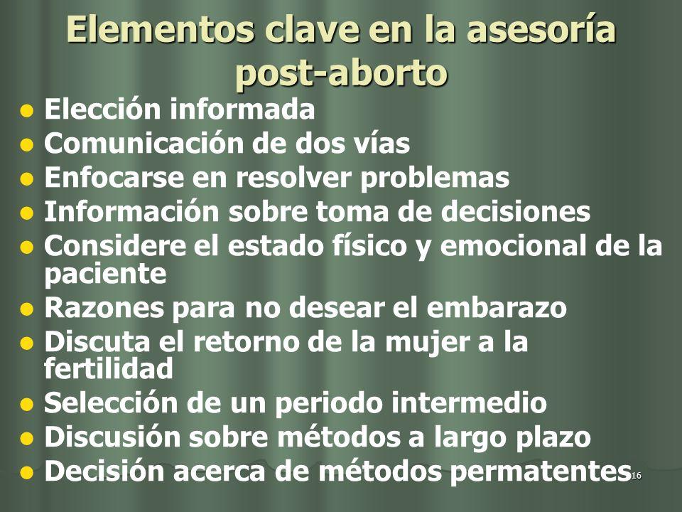 Elementos clave en la asesoría post-aborto