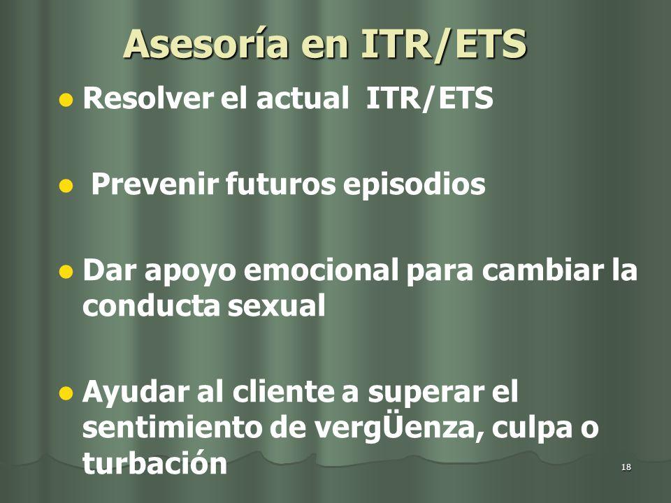 Asesoría en ITR/ETS Resolver el actual ITR/ETS