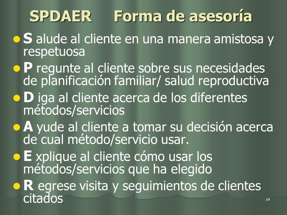 SPDAER Forma de asesoría