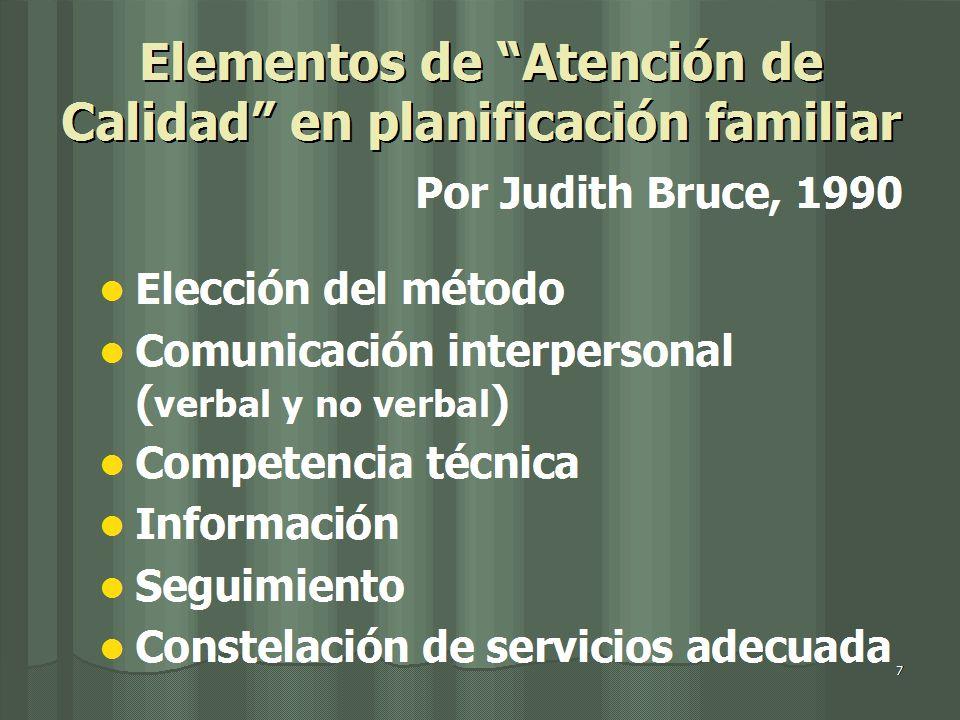 Elementos de Atención de Calidad en planificación familiar