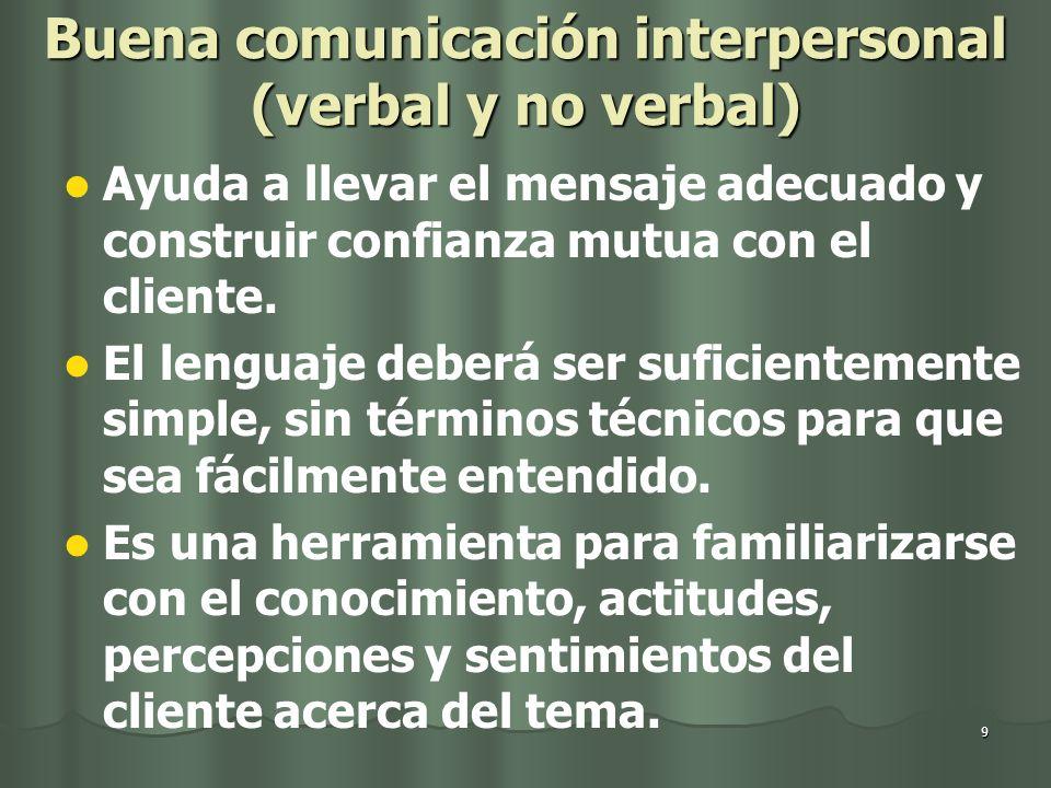 Buena comunicación interpersonal (verbal y no verbal)