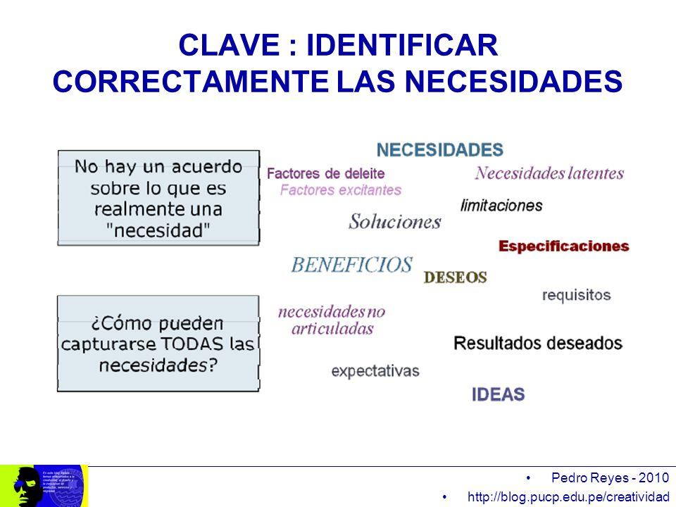 CLAVE : IDENTIFICAR CORRECTAMENTE LAS NECESIDADES