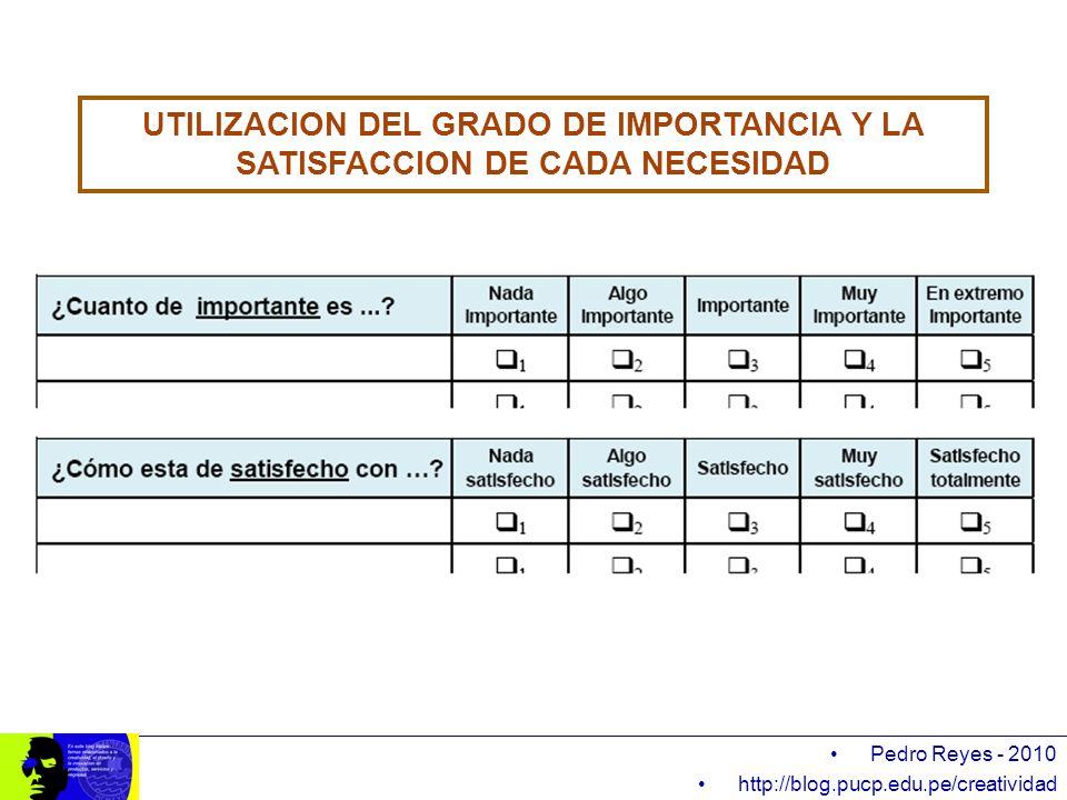 UTILIZACION DEL GRADO DE IMPORTANCIA Y LA SATISFACCION DE CADA NECESIDAD