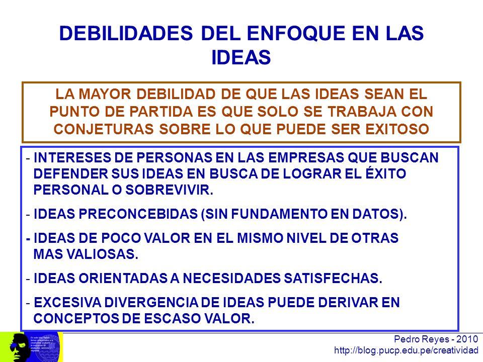 DEBILIDADES DEL ENFOQUE EN LAS IDEAS