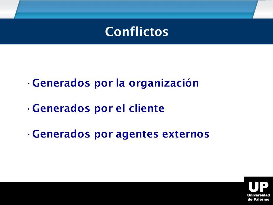 Conflictos Generados por la organización Generados por el cliente