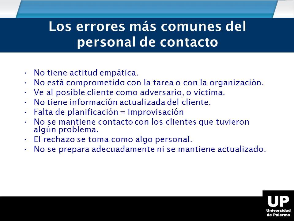 Los errores más comunes del personal de contacto