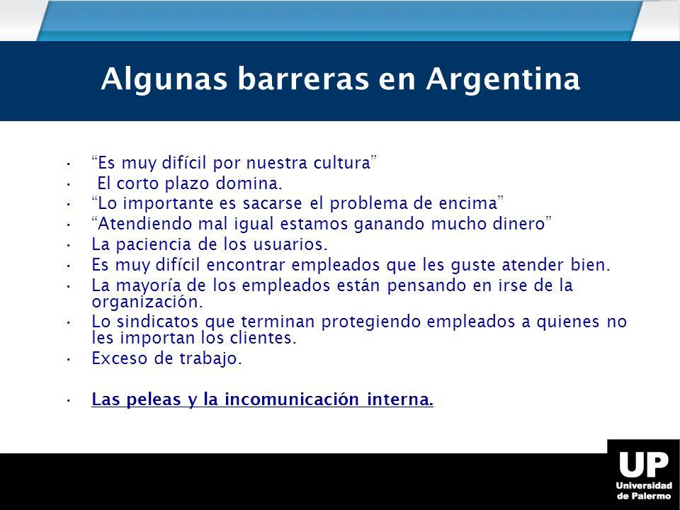 Algunas barreras en Argentina