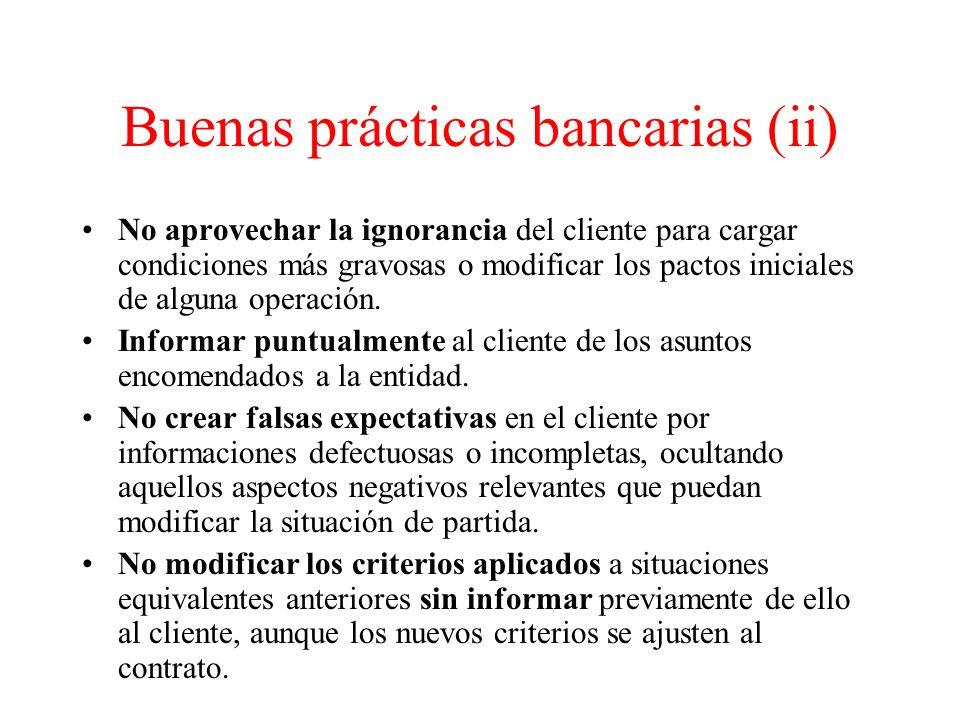 Buenas prácticas bancarias (ii)