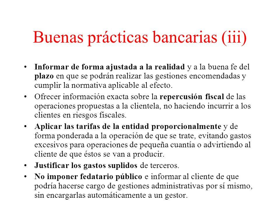 Buenas prácticas bancarias (iii)