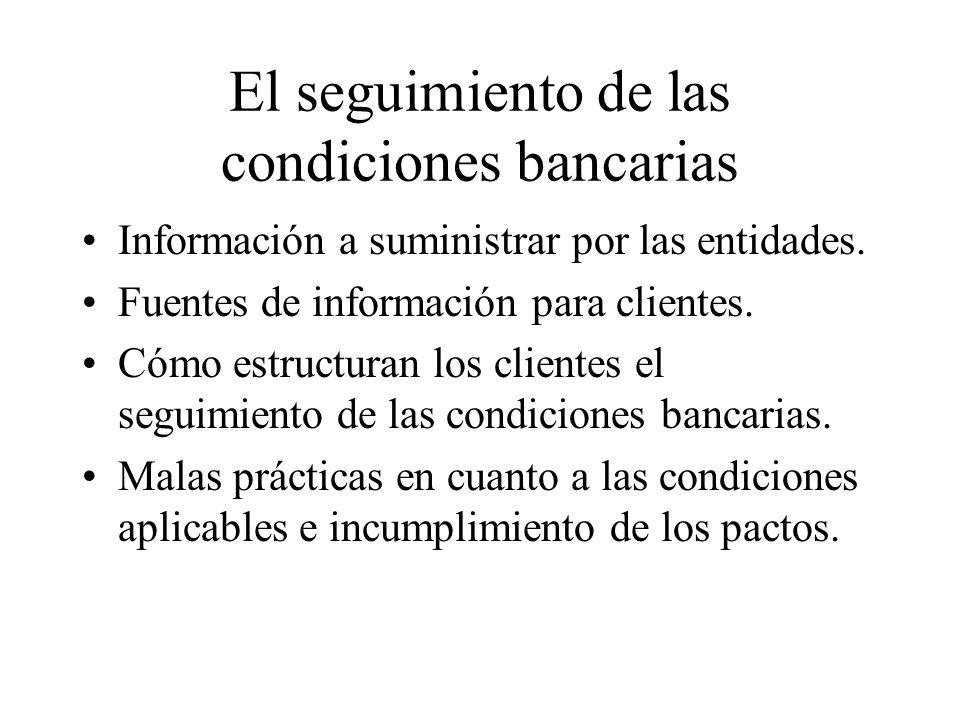 El seguimiento de las condiciones bancarias