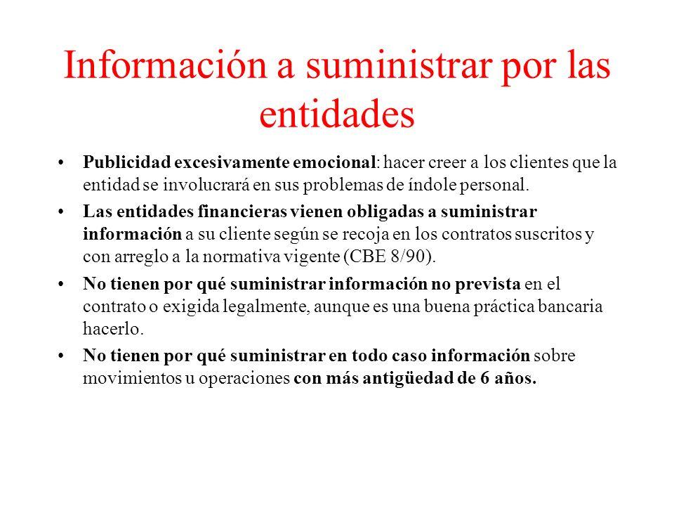 Información a suministrar por las entidades