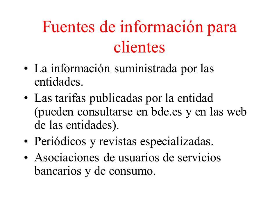 Fuentes de información para clientes