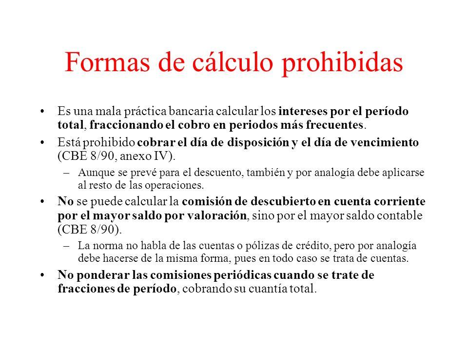 Formas de cálculo prohibidas