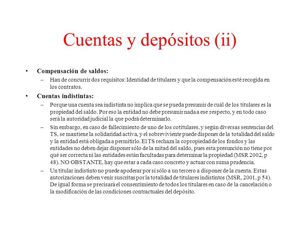 Cuentas y depósitos (ii)