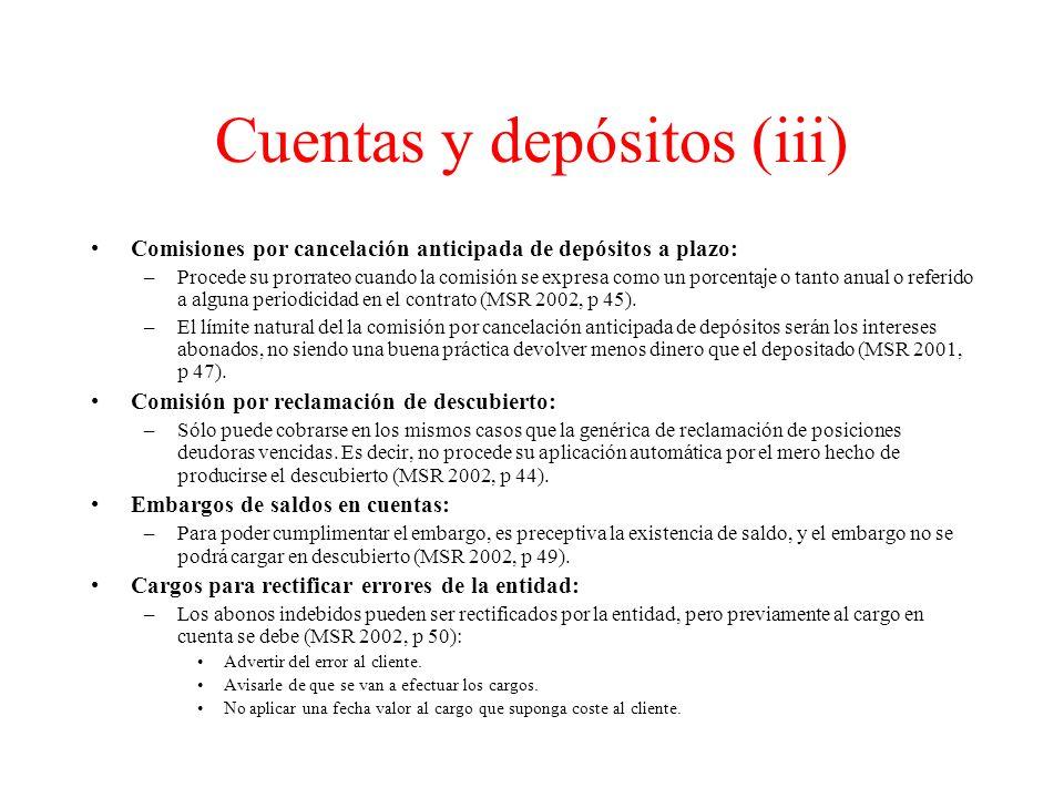 Cuentas y depósitos (iii)