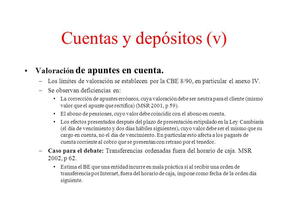 Cuentas y depósitos (v)