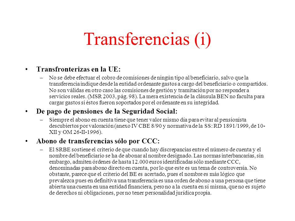 Transferencias (i) Transfronterizas en la UE: