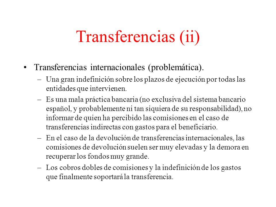 Transferencias (ii) Transferencias internacionales (problemática).
