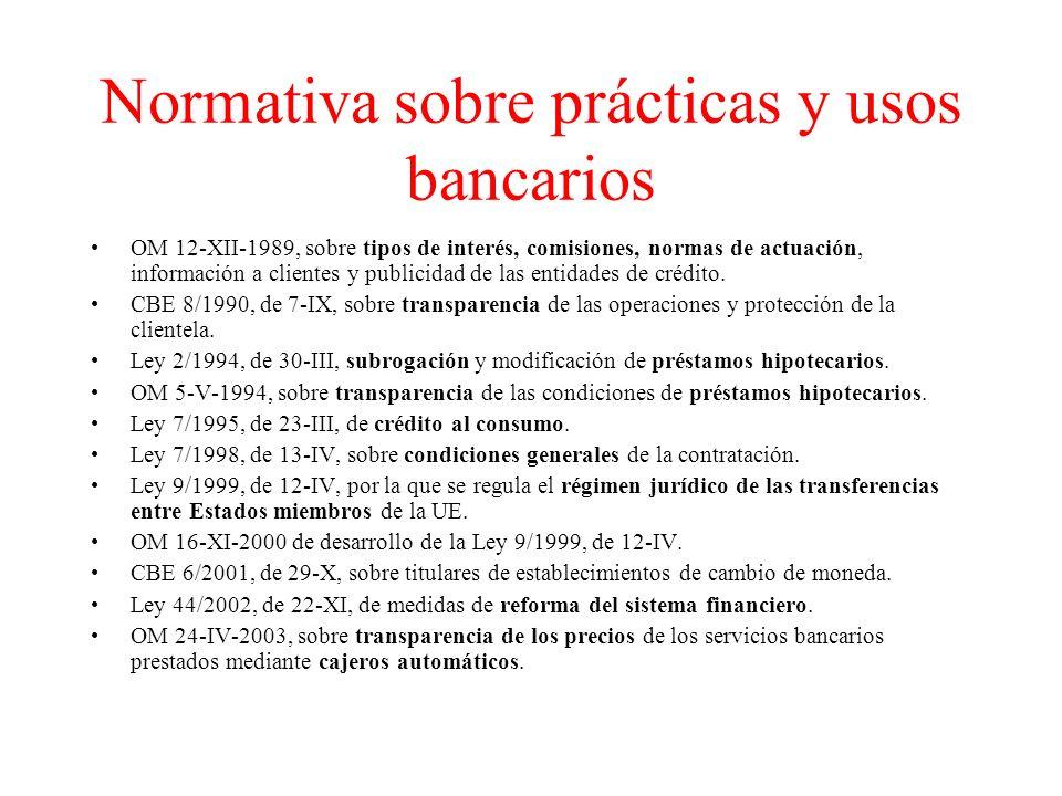Normativa sobre prácticas y usos bancarios