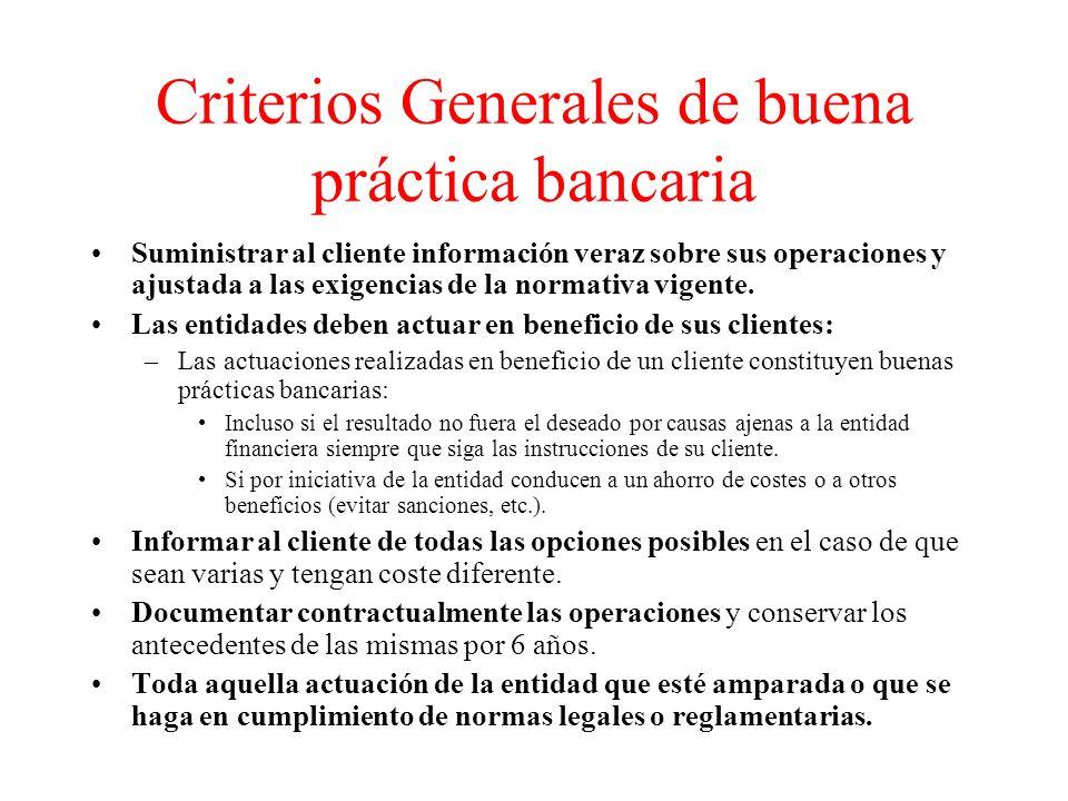 Criterios Generales de buena práctica bancaria