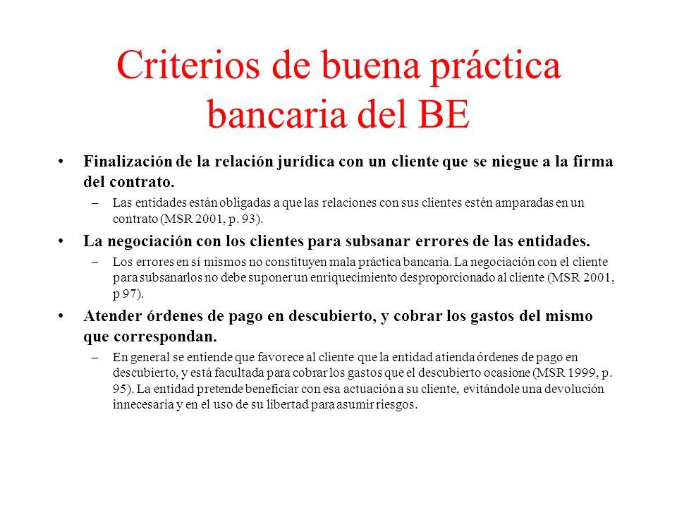 Criterios de buena práctica bancaria del BE