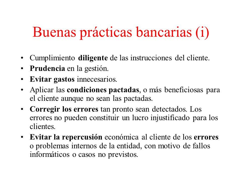 Buenas prácticas bancarias (i)