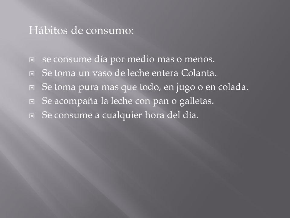 Hábitos de consumo: se consume día por medio mas o menos.