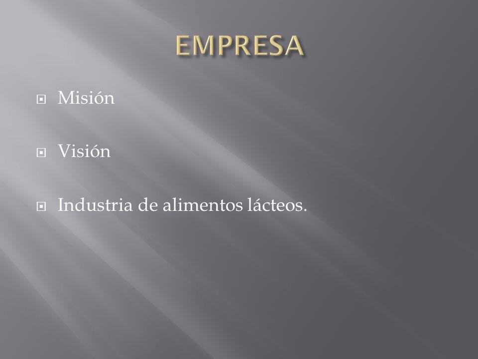 EMPRESA Misión Visión Industria de alimentos lácteos.