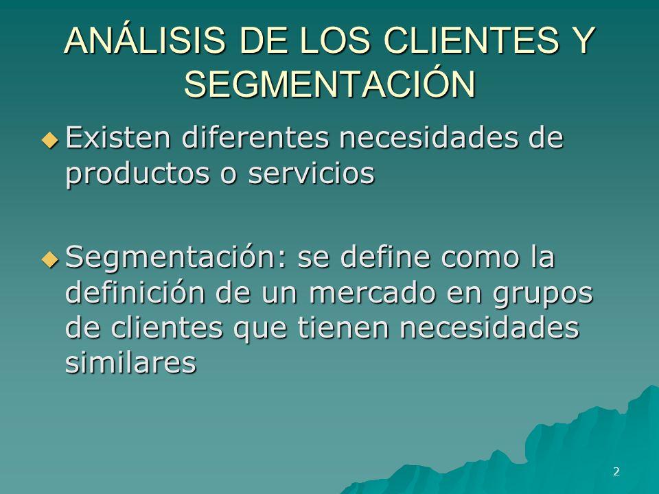 ANÁLISIS DE LOS CLIENTES Y SEGMENTACIÓN