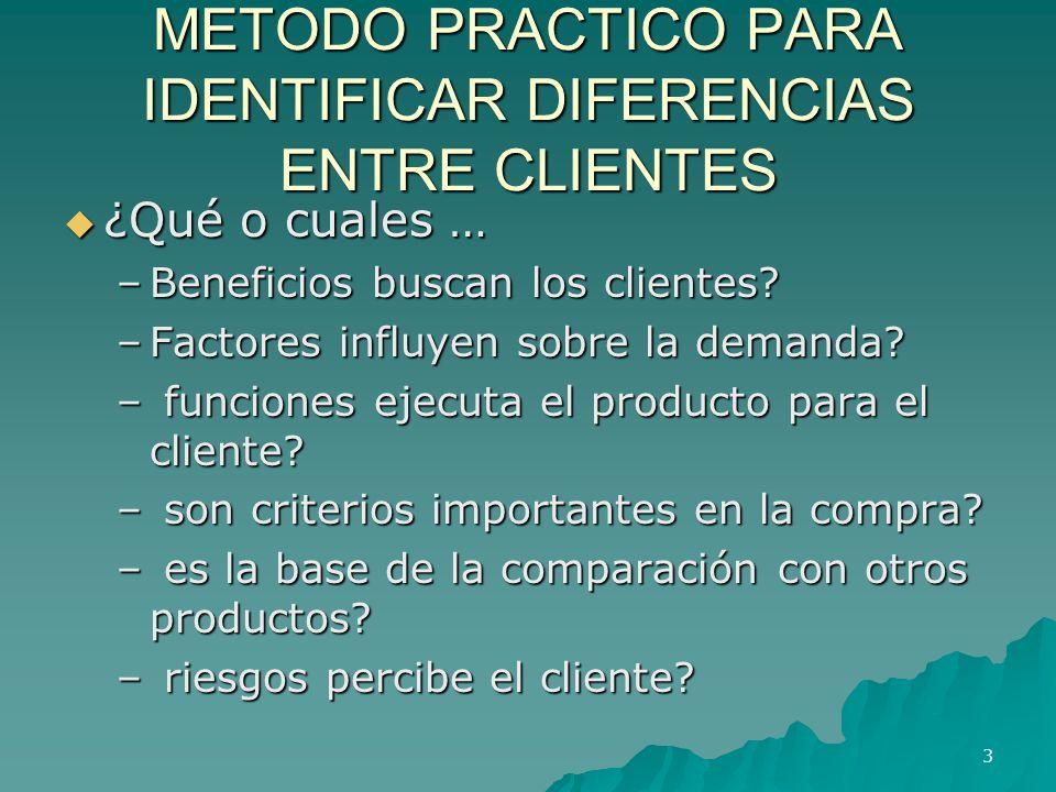 METODO PRACTICO PARA IDENTIFICAR DIFERENCIAS ENTRE CLIENTES