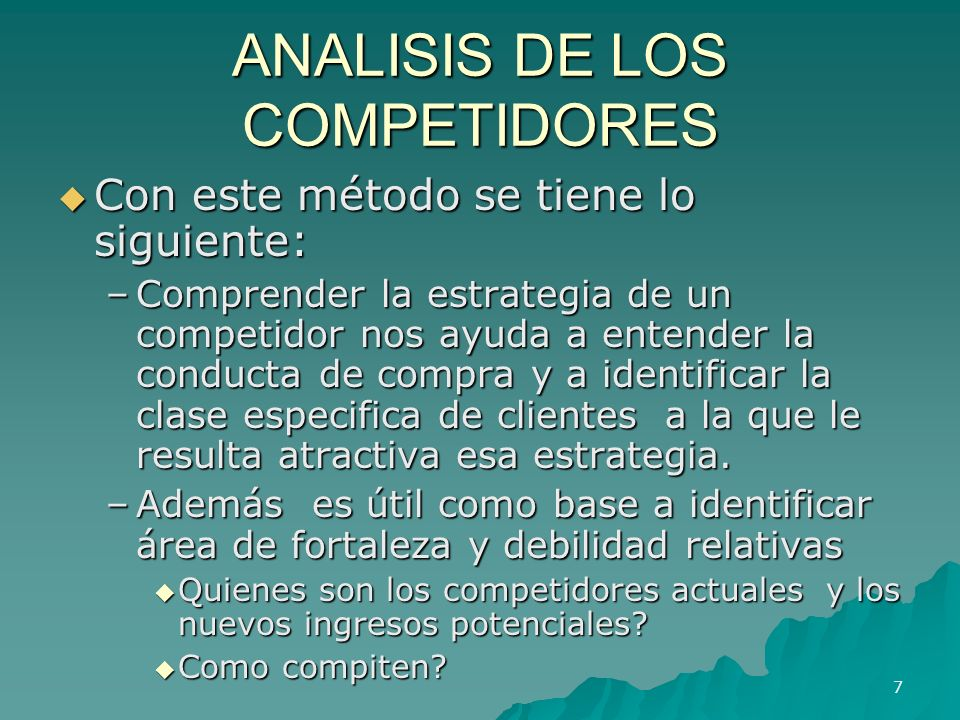 ANALISIS DE LOS COMPETIDORES