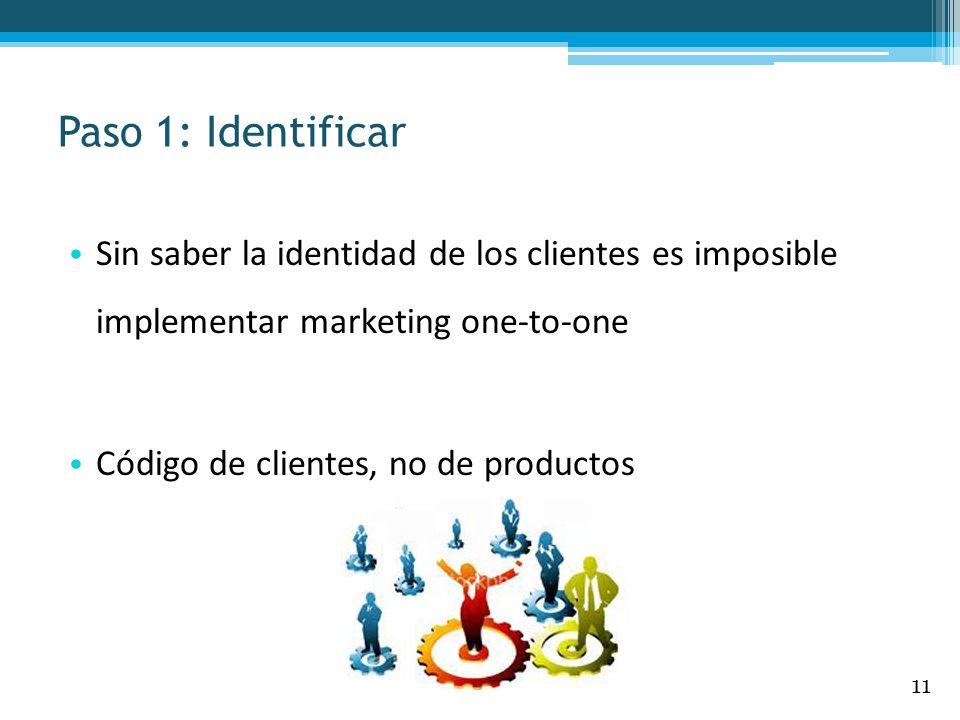 Paso 1: IdentificarSin saber la identidad de los clientes es imposible implementar marketing one-to-one.